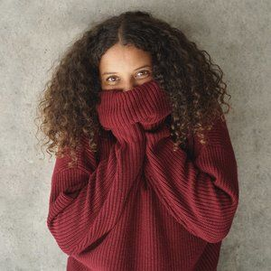 Grana Merino Wool ChunkyTurtleneckSweater Red XS